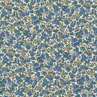 Tissu Coton Frou-Frou Fleuri N°15 Ecru et bleu - Par 10 cm