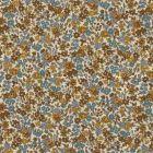 Tissu Coton Frou-Frou Fleuri N°17 Ecru et marron - Par 10 cm