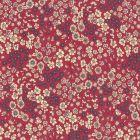 Tissu Coton Frou-Frou Fleuri N°21 Framboise et ecru - Par 10 cm