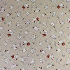 Tissu Toile Coton Beige Poules et oeufs x10cm