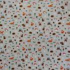 Tissu Toile Coton Beige Animaux et Champignons x10cm