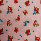 Tissu Toile Coton Rose Fleuris Multicolore x10cm