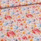 Tissu Coton imprimé Rose et pâquerettes sur fond Blanc cassé - Par 10 cm