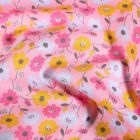 Tissu Coton imprimé Fleurs Vinties sur fond Rose - Par 10 cm