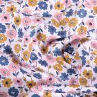 Tissu Coton imprimé Fleurs Vinties sur fond Blanc - Par 10 cm