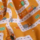 Tissu Coton imprimé LittleBird Ville en travaux sur fond Jaune curcuma - Par 10 cm