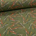 Tissu Jersey Coton envers gratté Feuilles colorées sur fond Vert kaki - Par 10 cm