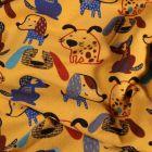 Tissu Sweat léger Bio envers tout doux Chiens colorés sur fond Jaune - Par 10 cm