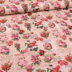 Tissu Toile de coton Garden flower sur fond Beige - Par 10 cm