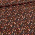 Tissu Coton imprimé Bio Petites fleurs et pointillés sur fond Noir - Par 10 cm