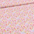 Tissu Coton imprimé Bio Petites fleurs et pointillés sur fond blanc - Par 10 cm