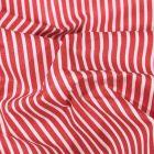 Tissu Coton enduit Fines rayures blanches sur fond Rouge - Par 10 cm