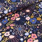 Tissu Coton imprimé LittleBird Fleurs des prés sur fond Bleu marine - Par 10 cm