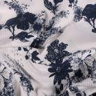 Tissu Seersucker Polyviscose Bouquets de fleurs sur fond Blanc - Par 10 cm