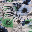 Tissu Seersucker Polyviscose Fleurs bleues et vertes sur fond Blanc - Par 10 cm