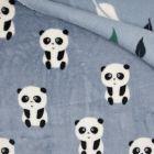 Tissu  Doudou  double face  Panda envers feuilles vertes et blanches sur fond Bleu gris - Par 10 cm