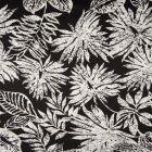 Tissu Coton Satiné extensible  Feuillages blancs sur fond Noir - Par 10 cm