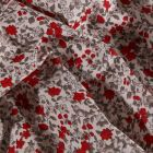 Tissu Coton imprimé Arty Petites fleurs grises et rouges sur fond Blanc - Par 10 cm