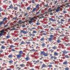 Tissu Coton imprimé Arty Léonie pourpre et bleu sur fond Blanc - Par 10 cm