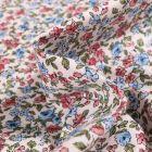 Tissu Coton imprimé Arty Léonie vieux rose et bleu sur fond Blanc - Par 10 cm