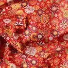Tissu Coton imprimé Arty Fleurs sur fond Rouge - Par 10 cm