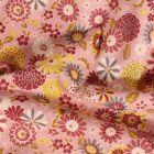 Tissu Coton imprimé Arty Fleurs sur fond Rose - Par 10 cm