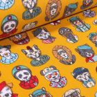 Tissu Coton imprimé Arty Animaux Cool sur fond Jaune - Par 10 cm