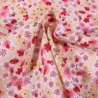 Tissu Coton imprimé Arty Fleurs de Sakura sur fond Jaune pastel - Par 10 cm