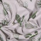 Tissu Jersey Coton Cactus métallisés verts sur fond Gris - Par 10 cm