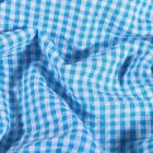 Tissu Seersucker Vichy  bleu sur fond Blanc - Par 10 cm