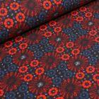 Tissu Jersey Coton Marguerites stylisées sur fond Bleu marine - Par 10 cm