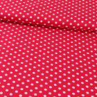 Tissu Coton Imprimé Pois 8 mm Blancs sur fond Rouge - Par 10 cm