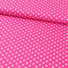 Tissu Coton Imprimé Pois 8 mm Blancs sur fond Fushia - Par 10 cm