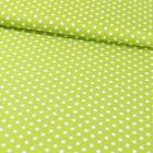 Tissu Coton Imprimé Pois 8 mm Blancs sur fond Vert Pomme - Par 10 cm