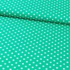 Tissu Coton Imprimé Pois 8 mm Blancs sur fond Vert - Par 10 cm