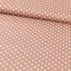 Tissu Coton Imprimé Pois 8 mm Blancs sur fond Taupe - Par 10 cm