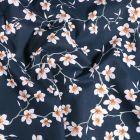 Tissu Coton imprimé Arty Fleur d'amandier sur fond Bleu marine - Par 10 cm