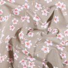 Tissu Coton imprimé Arty Fleur d'amandier sur fond Taupe - Par 10 cm