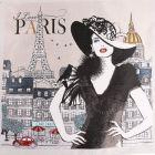 Panneau carré jacquard 48x48cm Madame Paris sur fond Naturel
