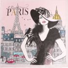 Panneau carré jacquard 48x48cm Madame Paris sur fond Rose