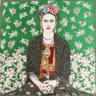 Panneau carré jacquard 48x48cm Frida Kahlo sur fond Vert