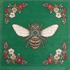 Panneau carré jacquard 48x48cm Abeille royale sur fond Vert