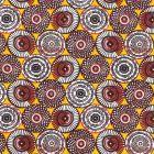 Tissu Coton Imprimé Arty Cercles Blancs, marrons et noirs sur fond Curry - Par 10 cm