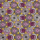 Tissu Coton Imprimé Arty Cercles Blancs, violets et noirs sur fond Lime - Par 10 cm